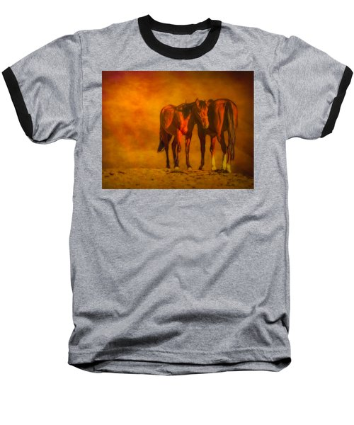 Catching The Last Sun Digital Painting Baseball T-Shirt