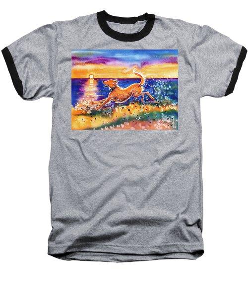 Baseball T-Shirt featuring the painting Catching The Sun by Zaira Dzhaubaeva