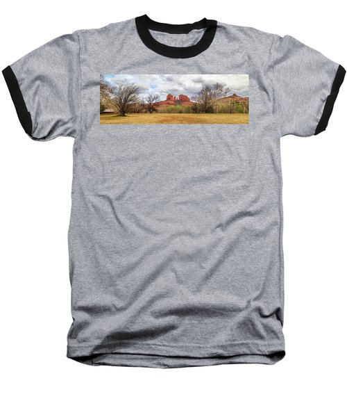 Cathedral Rock Panorama Baseball T-Shirt by James Eddy