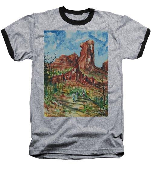 Hiking Cathedral Rock,  Sedona, Az. Baseball T-Shirt