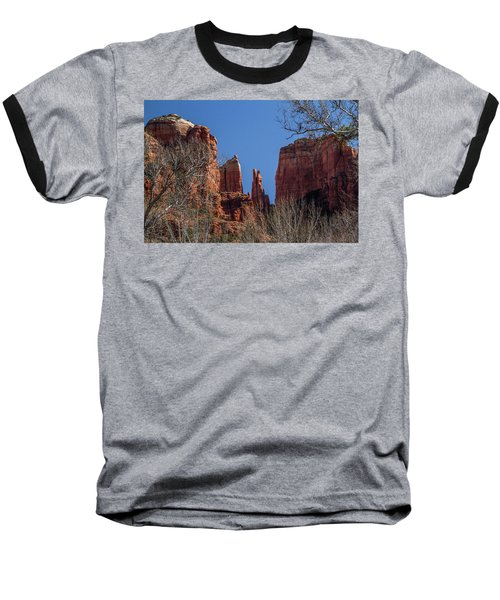 Cathedral Rock View Baseball T-Shirt by Roger Mullenhour