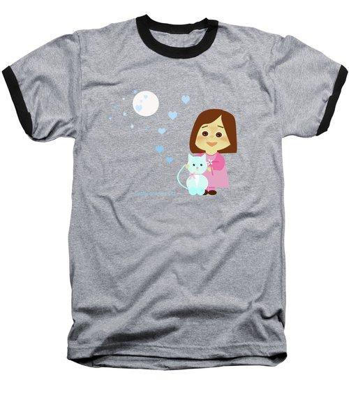 Cathy And The Cat At Night Baseball T-Shirt