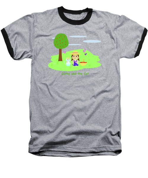 Cathy And The Cat With Apples Baseball T-Shirt