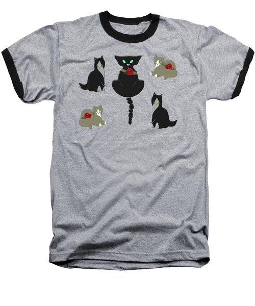 Cats Characteristic Arrangement Baseball T-Shirt