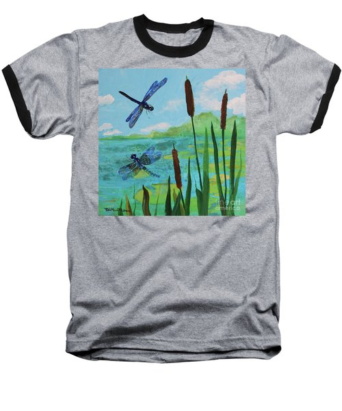 Cattails And Dragonflies Baseball T-Shirt