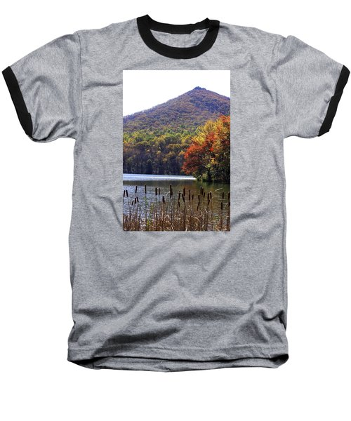Baseball T-Shirt featuring the photograph Cattails By Lake With Sharp Top In Background by Emanuel Tanjala
