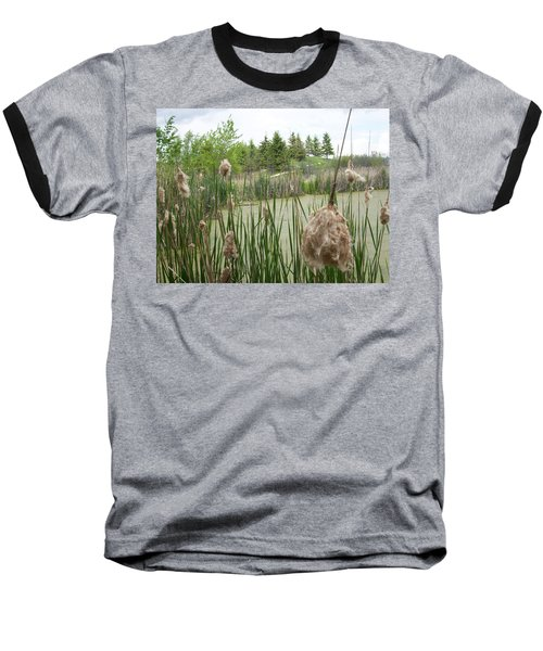 Baseball T-Shirt featuring the photograph Cattails by Mary Mikawoz