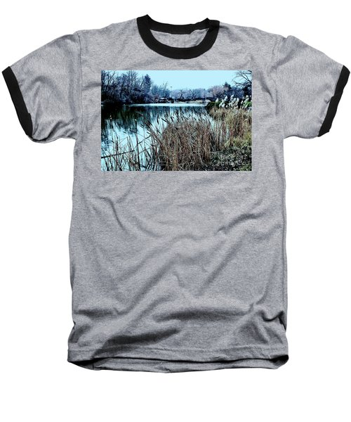 Baseball T-Shirt featuring the photograph Cattails On The Water by Sandy Moulder