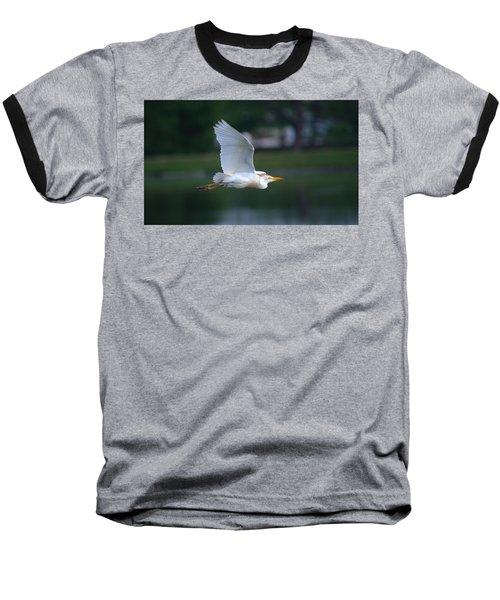 Cattle Egret Profile Portrait In Flight Baseball T-Shirt