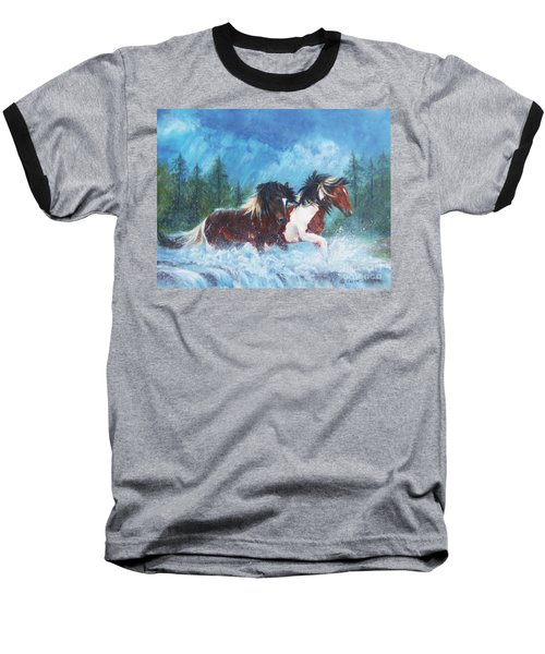 Baseball T-Shirt featuring the painting Caught In The Rain  by Karen Kennedy Chatham