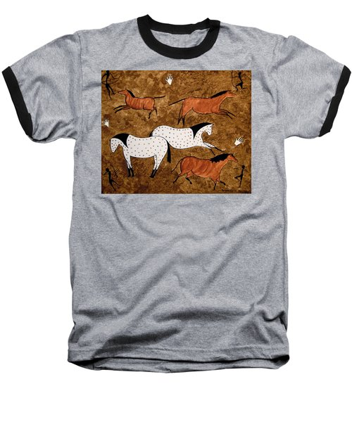 Baseball T-Shirt featuring the painting Cave Horses by Stephanie Moore