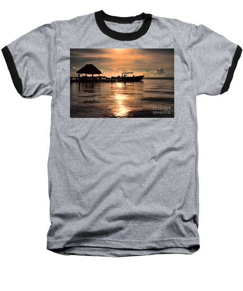 Caye Caulker At Sunset Baseball T-Shirt by Lawrence Burry