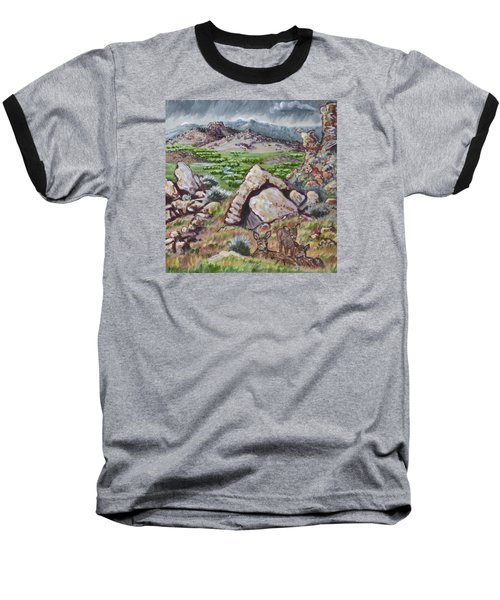 Baseball T-Shirt featuring the painting Cedar Breaks View With Mule Deer by Dawn Senior-Trask