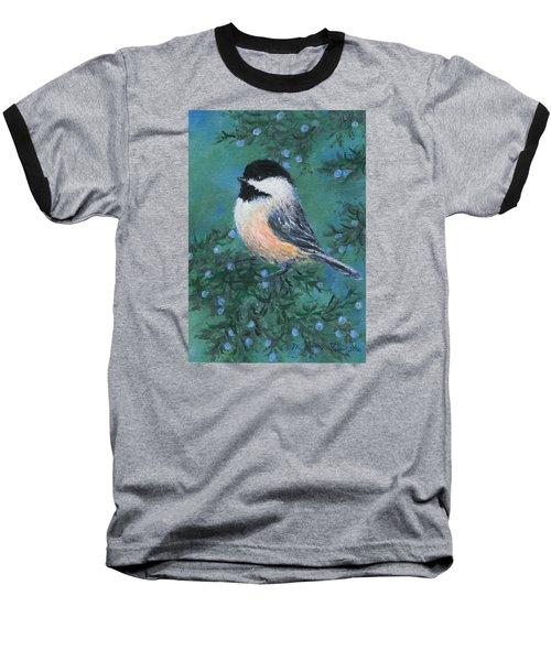 Baseball T-Shirt featuring the painting Cedar Chickadee 2 by Kathleen McDermott