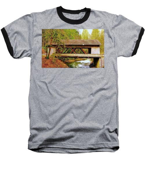 Cedar Creek Grist Mill Covered Bridge Baseball T-Shirt by Steve Warnstaff