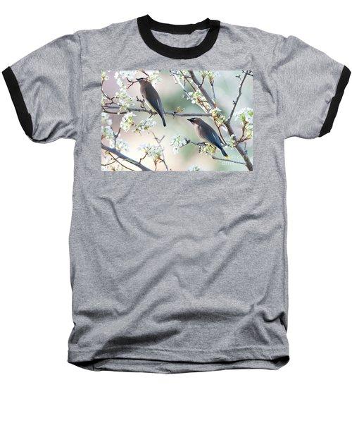 Cedar Wax Wing Pair Baseball T-Shirt by Jim Fillpot