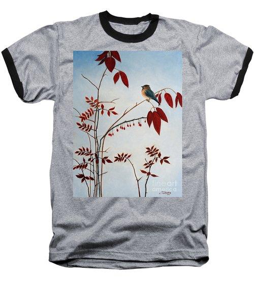 Cedar Waxwing Baseball T-Shirt by Laura Tasheiko