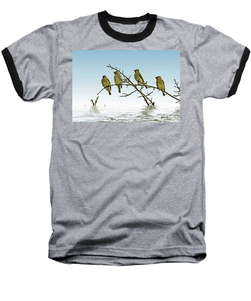 Cedar Waxwings On A Branch Baseball T-Shirt by Geraldine Scull