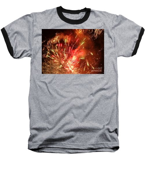 Baseball T-Shirt featuring the photograph Celebratory Fireworks And Firecrackers Light Up The Sky by Yali Shi