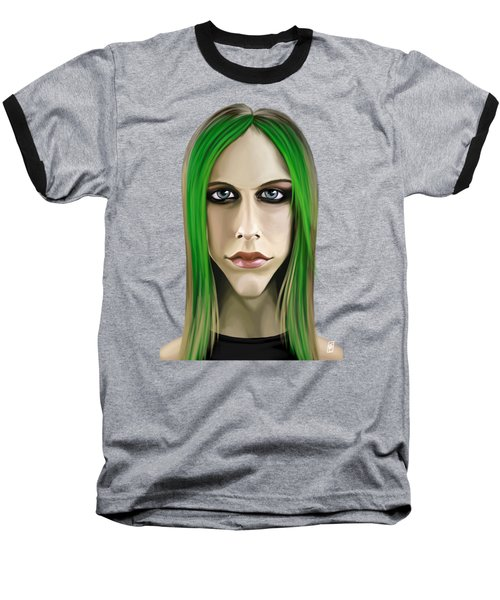 Baseball T-Shirt featuring the drawing Celebrity Sunday - Avril Lavigne by Rob Snow