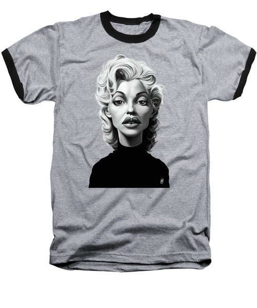 Celebrity Sunday - Marilyn Monroe Baseball T-Shirt by Rob Snow