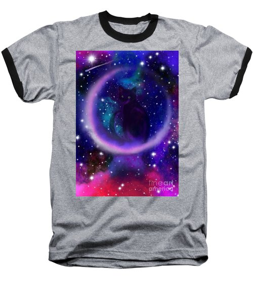Baseball T-Shirt featuring the painting Celestial Crescent Moon Cat  by Nick Gustafson