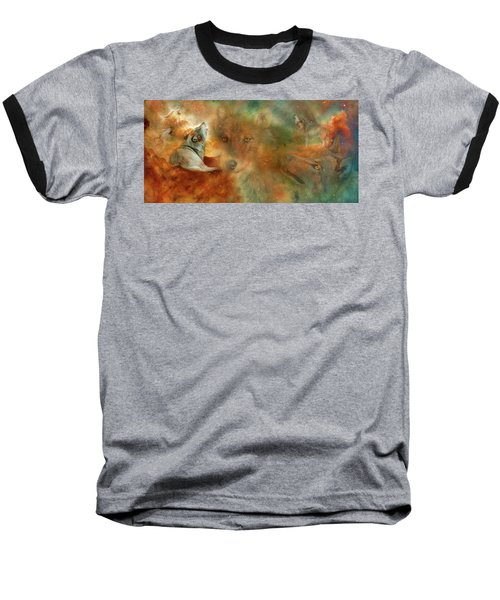 Baseball T-Shirt featuring the mixed media Celestial Wolves by Carol Cavalaris