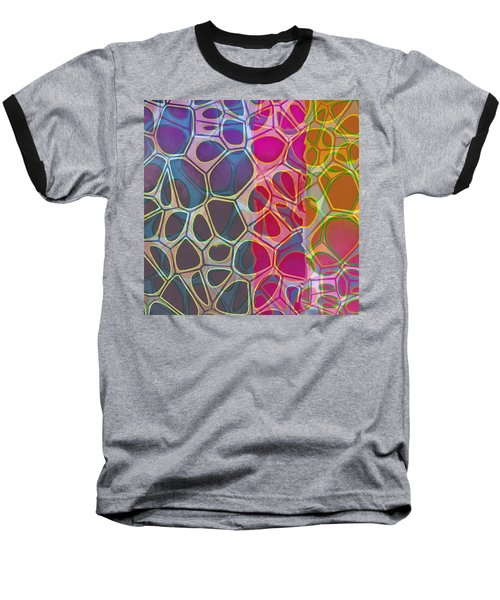 Cell Abstract 11 Baseball T-Shirt by Edward Fielding
