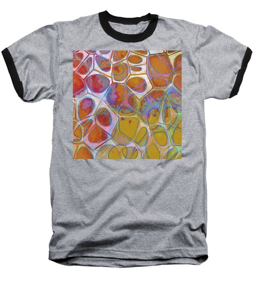 Cell Abstract 14 Baseball T-Shirt by Edward Fielding