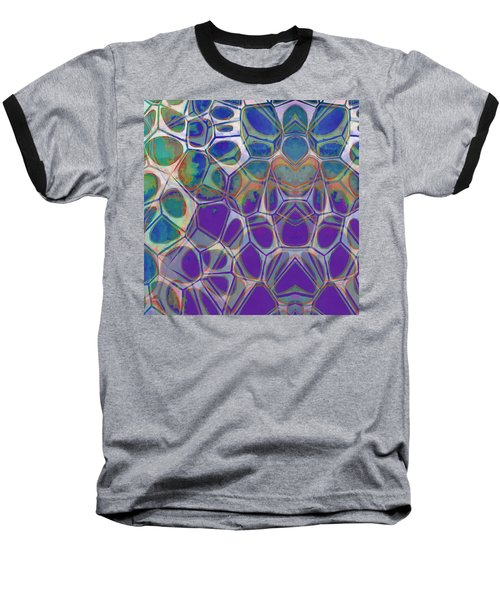 Cell Abstract 17 Baseball T-Shirt by Edward Fielding