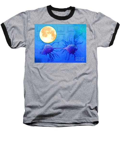 Cell Division Under Full Moon Baseball T-Shirt by Mojo Mendiola