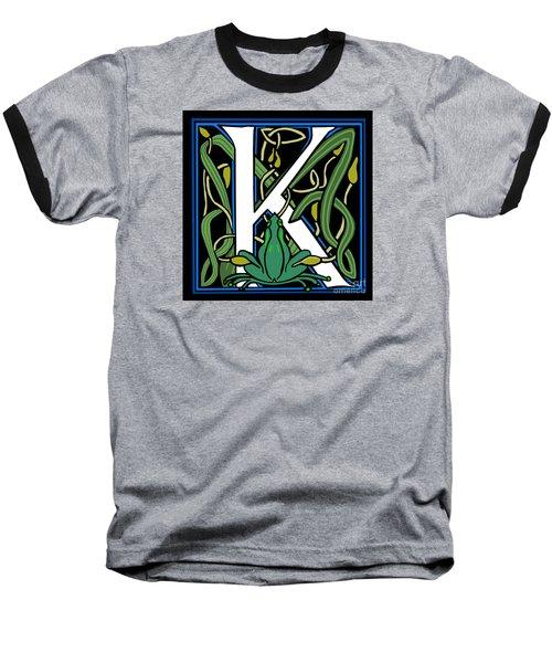 Celt Frog Letter K Baseball T-Shirt by Donna Huntriss