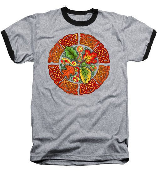 Celtic Autumn Leaves Baseball T-Shirt by Kristen Fox