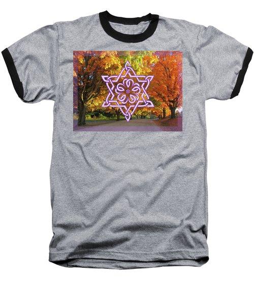 Celtic Hexagram Rose In Lavandar Baseball T-Shirt