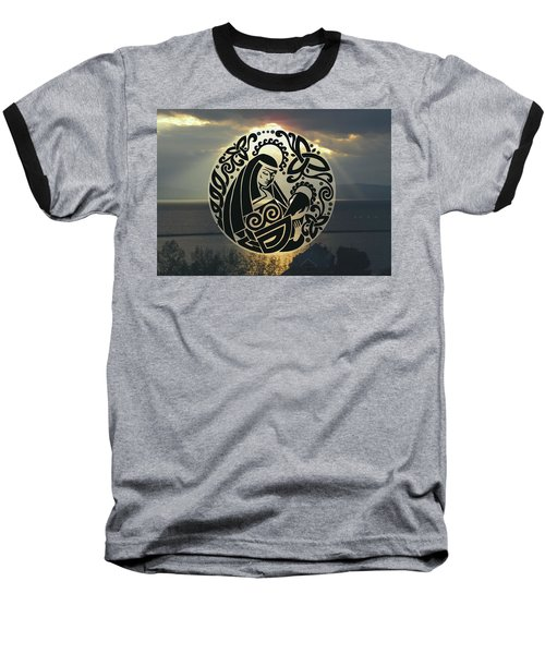 Celtic Madonna Over Sunset Baseball T-Shirt