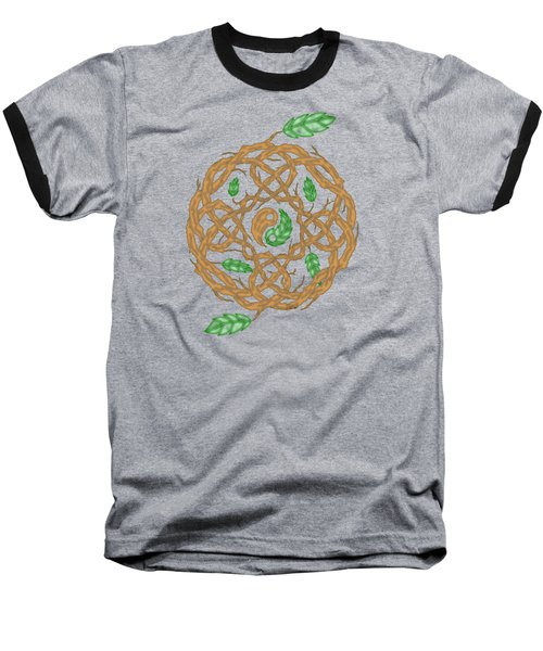 Celtic Nature Yin Yang Baseball T-Shirt by Kristen Fox