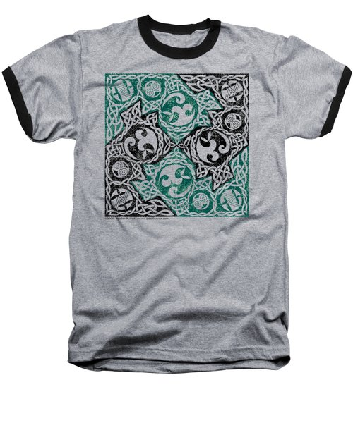 Celtic Puzzle Square Baseball T-Shirt by Kristen Fox