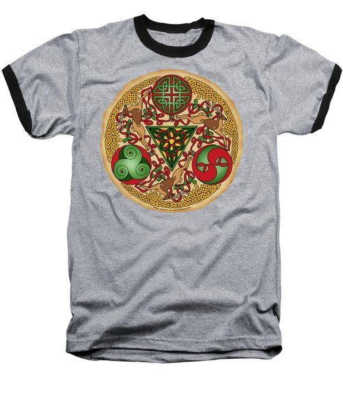 Celtic Reindeer Shield Baseball T-Shirt