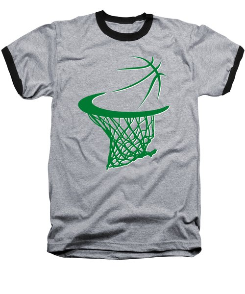 Celtics Basketball Hoop Baseball T-Shirt by Joe Hamilton