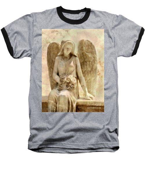 Cemetery Angel Statue Baseball T-Shirt by Randy Steele