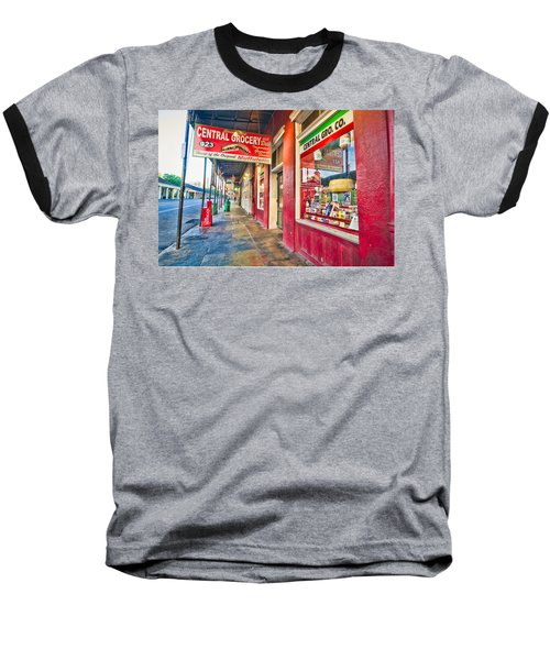 Baseball T-Shirt featuring the photograph Central Grocery And Deli In The French Quarter by Andy Crawford