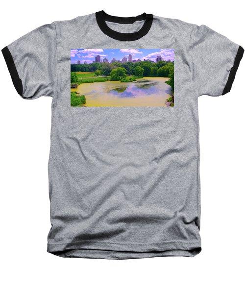 Central Park And Lake, Manhattan Ny Baseball T-Shirt