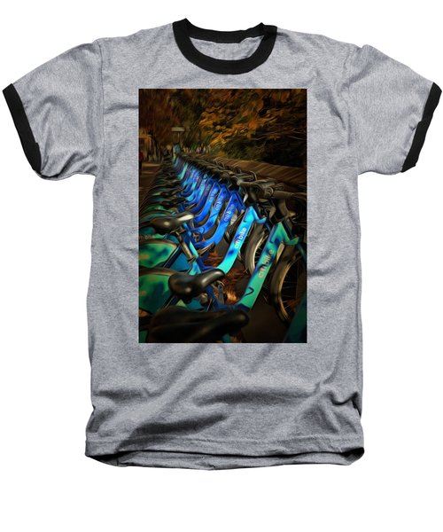 Central Park Bikes Baseball T-Shirt by Trish Tritz