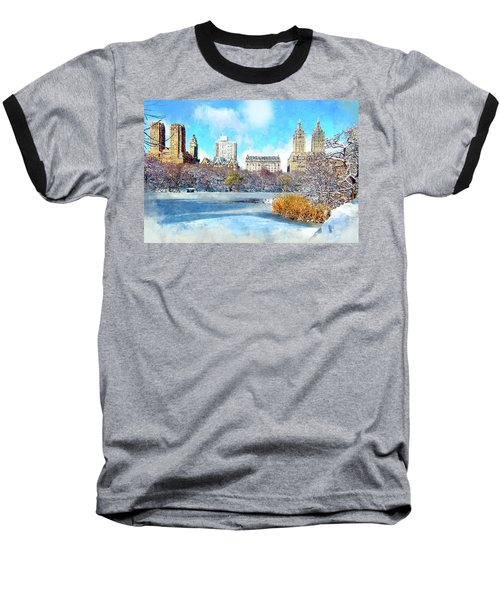 Central Park In Winter Baseball T-Shirt by Kai Saarto