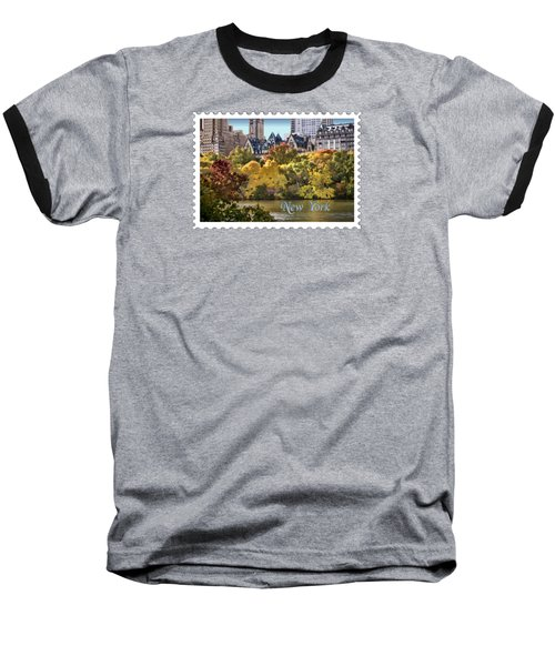 Central Park Lake In Fall Text New York Baseball T-Shirt by Elaine Plesser