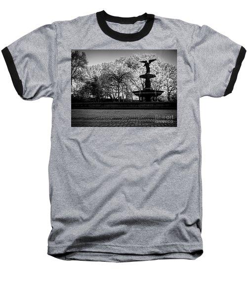 Central Park's Bethesda Fountain - Bw Baseball T-Shirt by James Aiken