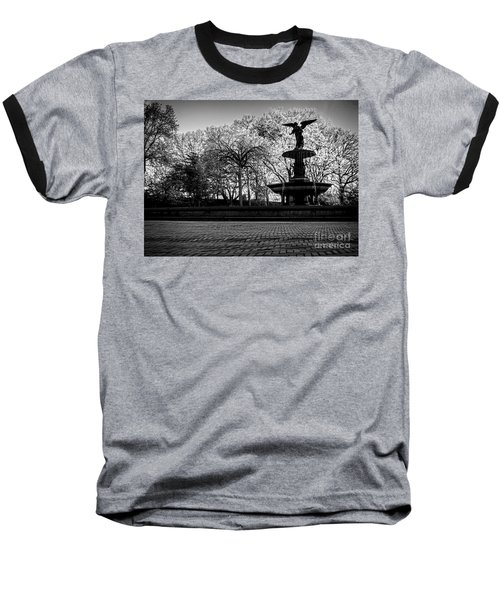 Central Park's Bethesda Fountain - Bw Baseball T-Shirt