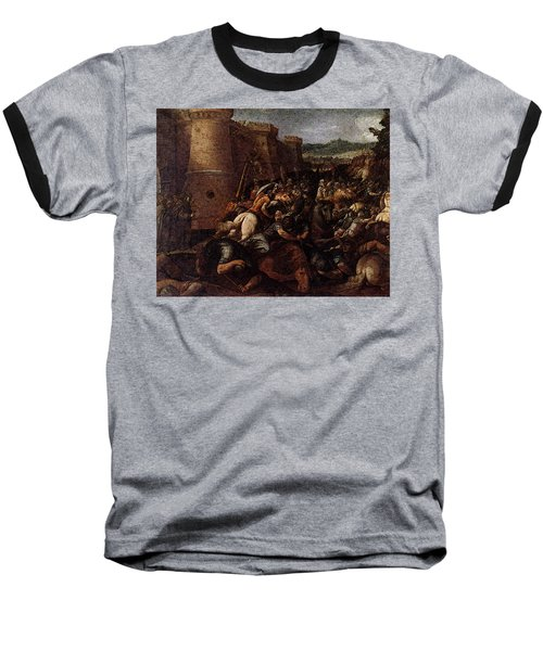 Cesari Giuseppe St Clare With The Scene Of The Siege Of Assisi Baseball T-Shirt by Giuseppe Cesari