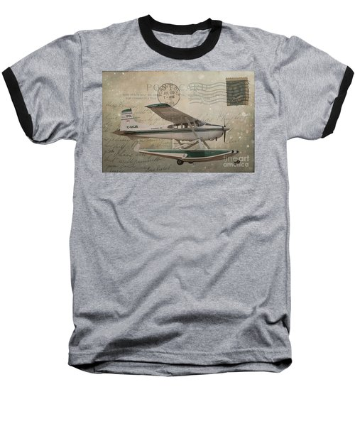 Cessna Skywagon 185 On Vintage Postcard Baseball T-Shirt