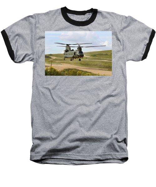 Ch47 Chinook In The Dust Bowl Baseball T-Shirt by Ken Brannen